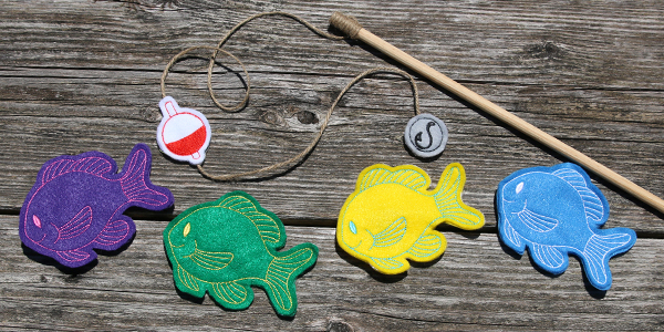 Free project instructions for creating a fishing game, in-the-hoop.