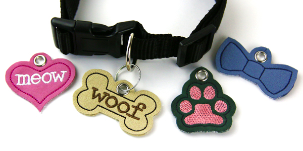 Free project instructions to create an in-the-hoop pet tags.