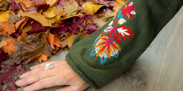 Free project instructions for embroidering on sweaters.