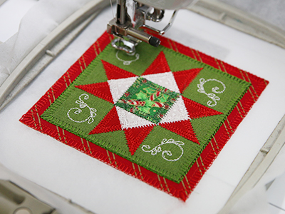 Free project instructions to create In-the-Hoop Heirloom Quilt Ornaments