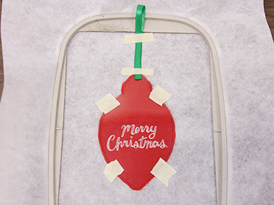 Free project instructions for creating an in-the-hoop vinyl treat holder ornament