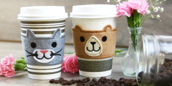 Free project instructions for creating an in the hoop coffee cozy.