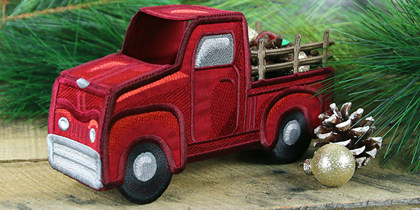 Free project instructions for creating a classic retro truck, in-the-hoop.