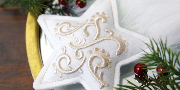 Free project instructions for creating puff foam ornaments, in-the-hoop.