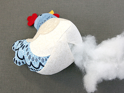 Free project instructions for creating a 3D Chicken Stuffie in-the-hoop