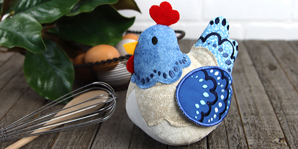 Free project instructions for creating a Chicken Stuffie in 3D (In-the-Hoop)