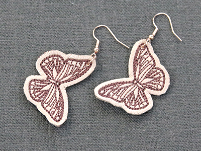 Free project instructions for creating in-the-hoop leather earrings.