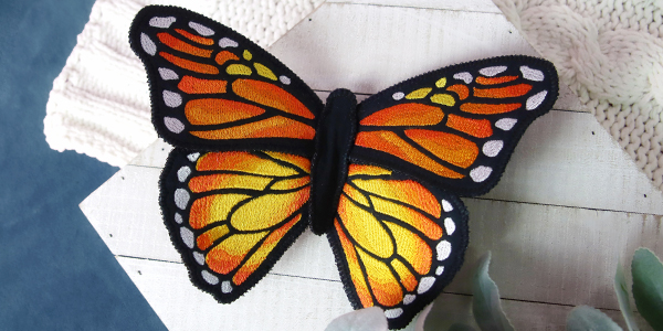 Free project instructions for creating a Multi-piece Fabric Butterfly (In-the-Hoop)