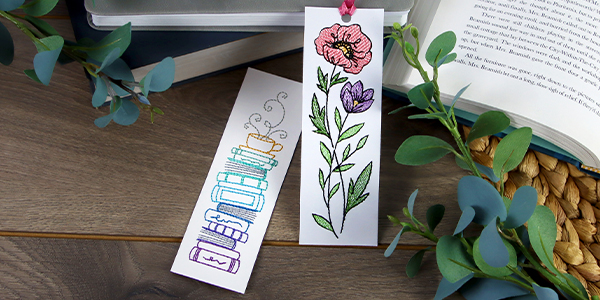 Free project instructions for creating an embroidered cardstock bookmark.