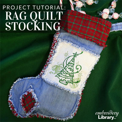 Rag Quilt Christmas Stocking