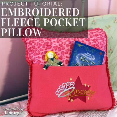 Embroidered Fleece Pocket Pillow