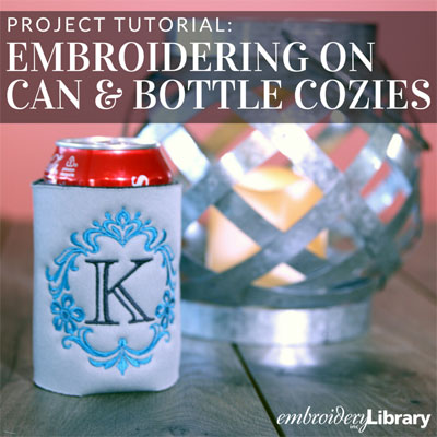 Embroidering on Can and Bottle Cozies