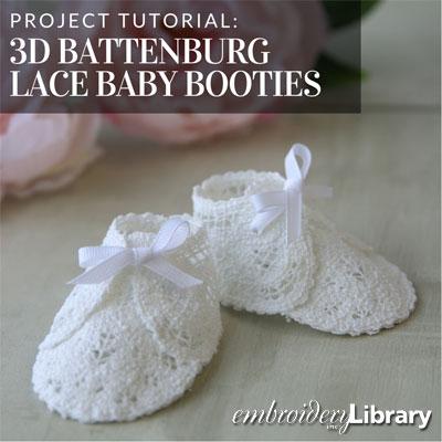 3D Battenburg Lace Baby Booties
