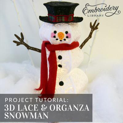 3D Lace & Organza Snowman