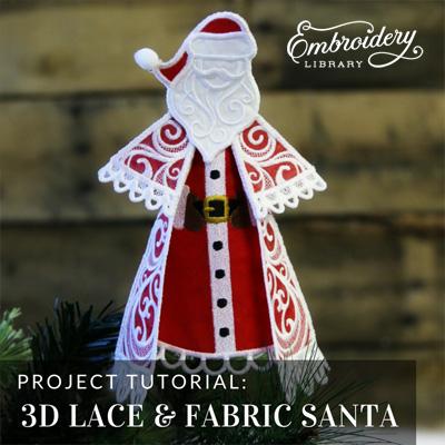 3D Lace & Fabric Santa