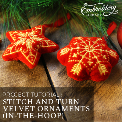Free project instructions for creating an in-the-hoop velvet stitch and turn ornament.