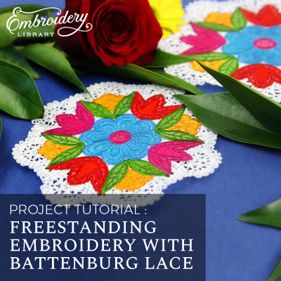 Freestanding Embroidery with Battenburg Lace