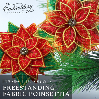 Freestanding Fabric Poinsettia