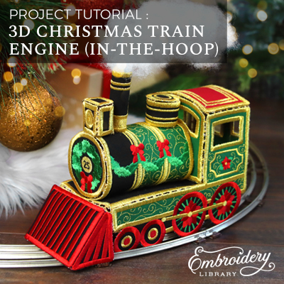 3D Christmas Train Engine (In-the-Hoop)