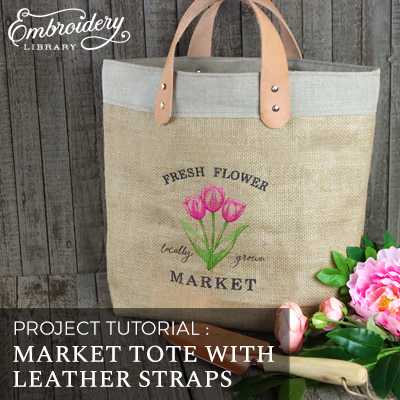 Market Tote with Leather Straps
