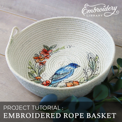Embroidered Rope Basket