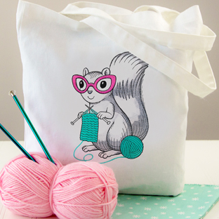 Embroidery Library - Knitting Squirrel