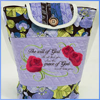 Free project instructions for creating a Bible tote bag using machine embroidery designs.