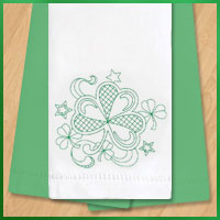 Free project instructions for embroidering on tea towels and flour sack towels.