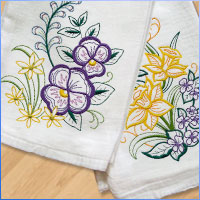 Embroider on flour sack and tea towels with this free tutorial.