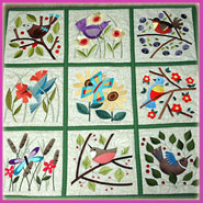 A spring wall hanging with machine embroidery designs.