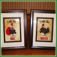 Hen and rooster framed machine embroidery designs.