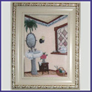 Victorian bath decor machine embroidery designs in a frame.