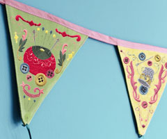 Free tutorial for creating Beautiful Bunting using machine embroidery designs.