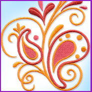 Pampered Paisley machine embroidery design.