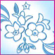 Forget-me-nots spray machine embroidery design.