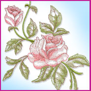 Romantic Roses machine embroidery design.