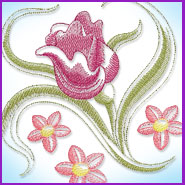 Sheer Floral Blossom machine embroidery design.