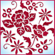 Simpley Red floral circle machine embroidery design.
