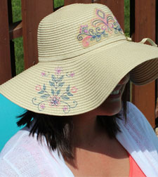 Free project instructions for embroidering on straw hats.