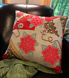 Free project instructions for making a Crazy for Christmas pillow.