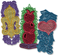 Free project instructions to make a lace bookmark with mylar foil tissue.