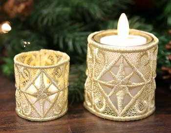 How to stitch and assemble freestanding lace candle wraps.