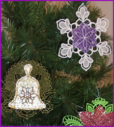 Free project instructions for creating lace and Mylar ornaments and earrings.