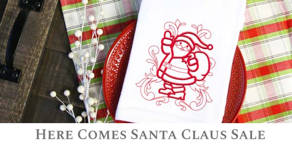 Embroidery Library - Here Comes Santa Claus Sale!