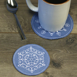 Embroidery Library -  Featured Pack: Snowflake Fancy Coasters (In-the-Hoop)