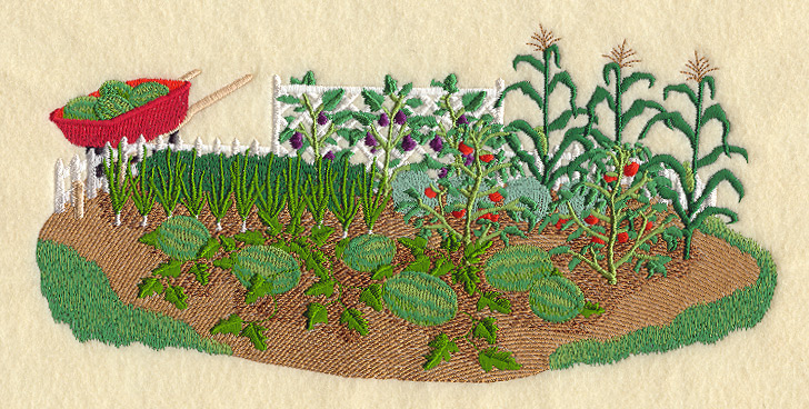 Garden Embroidery Designs flower and plant embroidery designs Vegetable Garden Scene