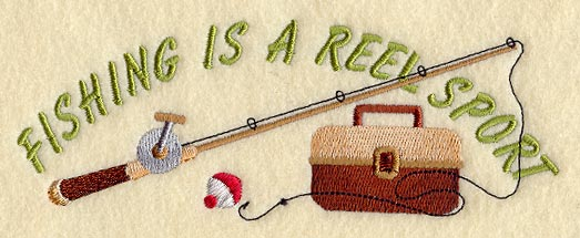 machine embroidery designs at embroidery library! - reel sport, Fishing Rod