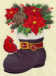 Santa's boot blooming with flowers, with a cardinal perched on the toe.