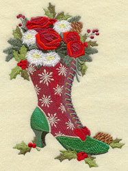 Mrs. Claus' fashion boot holding a bouquet of flowers.
