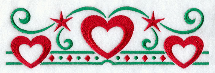 ... Designs at Embroidery Library! - Nordic Christmas Hearts Border